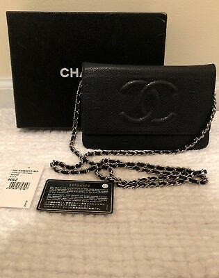 a7240cd72fd1 100% Authentic Chanel Wallet on Chain Classic Black Caviar Silver hardware  WOC