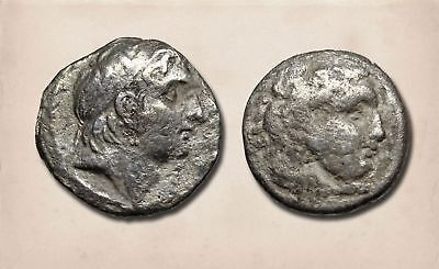 GREEK. Lot of 2 Silver Drachms, Seleukid (Demitrios) and Alexander the Great