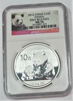 2012 China 10 Yuan * Panda * 1 ozt Silver * NGC MS70 * First Releases * Nice