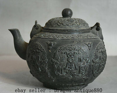 "8"" Xuande Marked Old Chinese Bronze Dynasty Palace Portable Bat Teapot Teakettle"