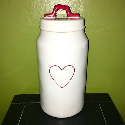 """New RAE DUNN Valentines Day Red Heart 9.5"""" Canister With Red Handle By Magenta"""