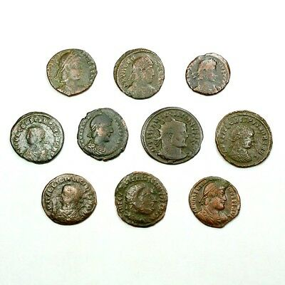 Ten (10) Nicer Ancient Roman Coins c. 100 - 375 A.D. Exact Lot Shown rm3628