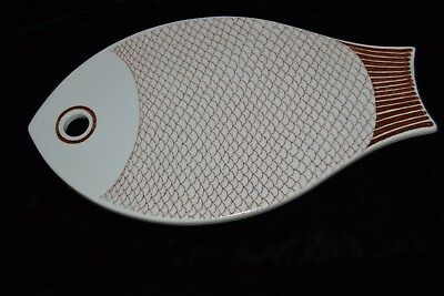 MCM Made in Finland Fish Shaped Cutting Board Wall Hanging Brown/White Ceramic
