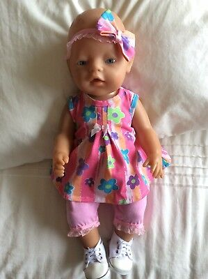 "Doll Clothes to fit 17"" Baby Born doll ~ 3 Piece Set. Pink ~ Mauve - Flowers"