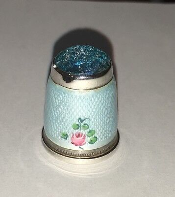 """Vintage Germany Sterling Silver & Guilloche Enamel 9/10"""" Thimble"""