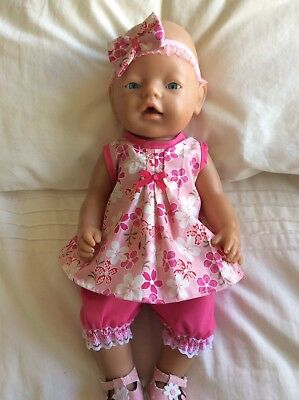 "Doll Clothes to fit 17"" Baby Born doll ~ 3 Piece Set. Pink ~ Japanese Flowers"