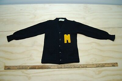 Vintage 1950's Child's Imperial Wool Award Sweater Milwaukee / Michigan College