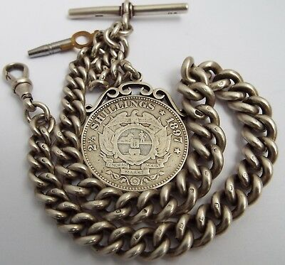 SUPERB CHUNKY HEAVY 88g ENGLISH ANTIQUE 1898 STERLING SILVER ALBERT WATCH CHAIN