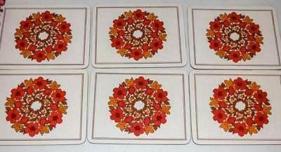 FUNKY Vintage PLACE MATS Orange & Red RETRO 70's Melamine Cork Backed Placemats