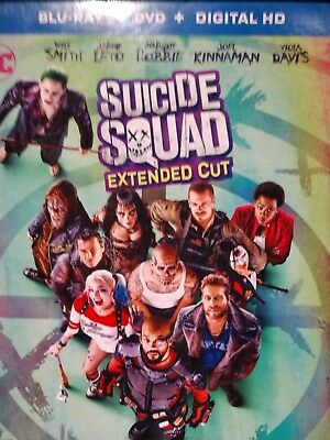 Suicide Squad (extended cut Blu-ray/DVD, 2016) ships free