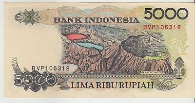 Indonesia 5000 Rupiah 1992 Issue Banknote Pick: 130a in XF++