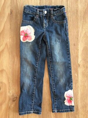 """GYMBOREE """"Burst of Spring"""" Straight Jeans Girls Size 4 - Adorable!"""