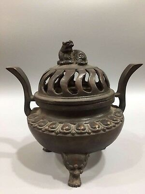Chinese Antique Old copper hand-made lion incense burner Home office decoration
