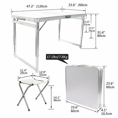 4-person Folding Table Heavy Duty Trestle Camping Party Picnic BBQ Stall Garden