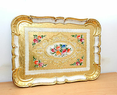 Tray Wooden Gold Old With Decoration Floral Handcraft Florentine