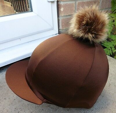 Lycra Riding Hat Silk skull cap cover BROWN  Extra Large Faux Fur Pompom