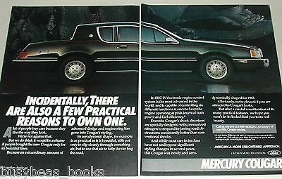 1984  MERCURY COUGAR 2-page advertisement, Black 2-door Merc Cougar