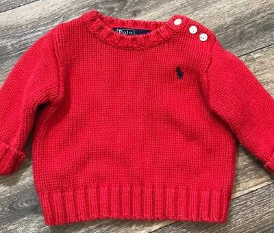 Polo Ralph Lauren Baby Boy Sweater Size 9 months Red Cable Knit Button Collar