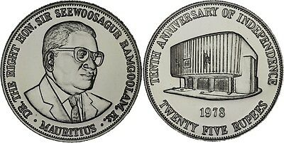 Mauritius: 25 rupees silver 1978 (10th anniversary of independence) BU