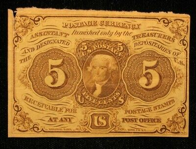 1862 Civil War Era US POSTAGE CURRENCY NOTE 5 CENT FRACTIONAL 1st ISSUE