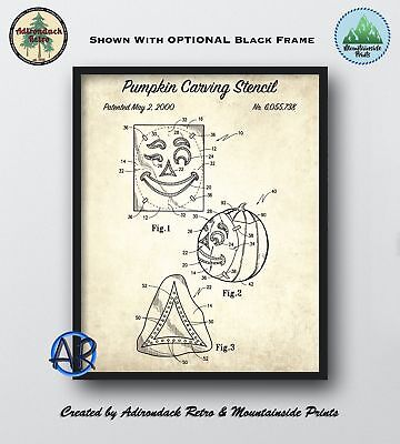 Pumpkin Carving Stencil Patent Art Print  -  Halloween Wall Art