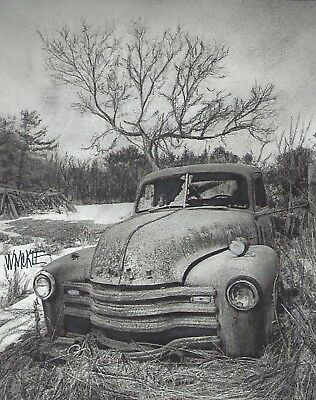 Charcoal Drawing       Derelict Chevy Pick-Up