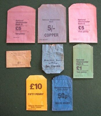Collection Of Old Coin Bags For Various Denominations And Banks. Some L.s.d.