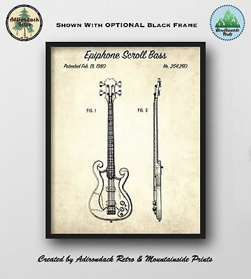 Epiphone Scroll Bass Patent Art Print  -  Vintage 1980 Poster Art