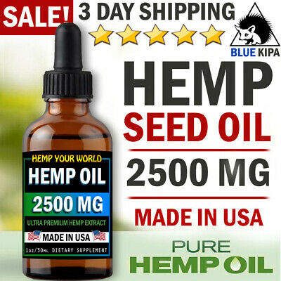 Organic Hemp Oil Drops 2500 mg Pain Relief Reduce Stress Joint Support Sleep Aid
