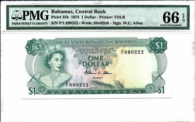 Central Bank Bahamas  $1 1974  PMG  66EPQ