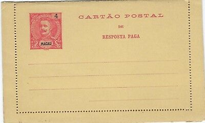 Macao 1905 4a + 4a reply stationery letter card unused