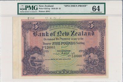 Banque of New Zealand New Zealand  5 Pounds 1917 Specimen Proof, Rare PMG  64