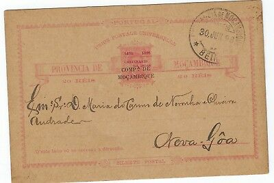 Mozambique Company 1898 20r Centenary overprint stationery used to Goa