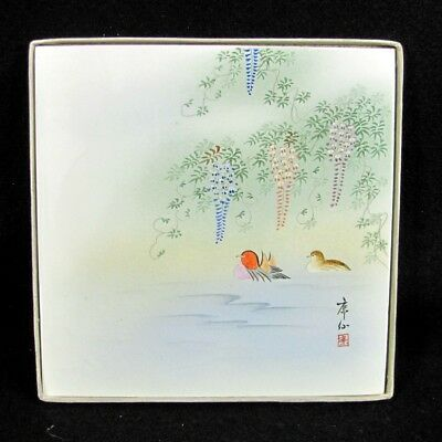 Vintage JAPANESE WISTERIA WATER Bird Tile Occupied Japan Artist Signed Painting
