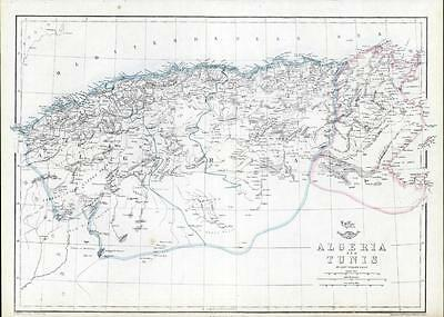 c1870 Original Antique Map ALGERIA & TUNIS TUNISIA North Africa Gulf of Cabes