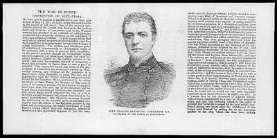 1882 Antique Print PEOPLE Portrait Lord Charles Beresford Alexandria Police (90)