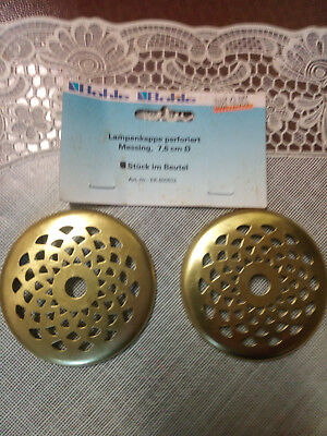Tiffany * 2 X Lampenkappe * Messing 7,6 Cm * Perforiert * Neu*