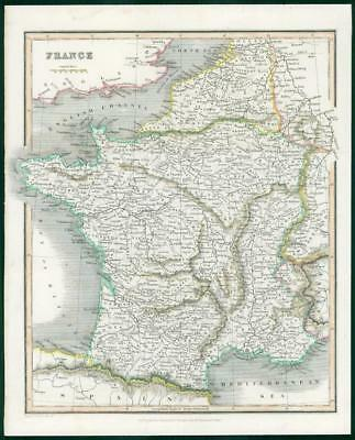 1834 - Original Antique Map of FRANCE by Fullerton Hand Coloured (wv19)