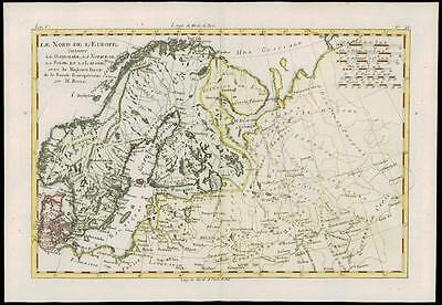 1780 Original Antique Map of NORD DE L'EUROPE NORTHERN EUROPE by Bonne (29)