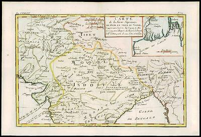 1780 Antique Map of MONGOLIA TIBET INDOSTAN INDIA AFGHANISTAN by Bonne (38)