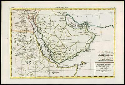 1780 Antique Map CARTE DE L'ARABIE SAUDI ARABIA ABYSSINIA ETHIOPIA by Bonne (39)