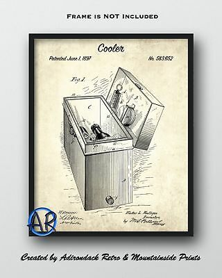 Cooler Patent Art Print  -  Vintage Patent Drawing