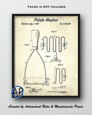 Potato Masher Patent Art Print  -  Vintage Patent Drawing