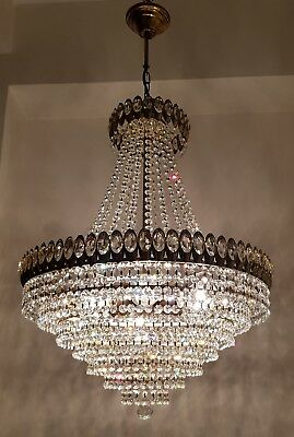 Antique French Basket Style Brass & SWAROVSKI Crystals GIANT Chandelier 1950's
