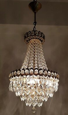 Antique Vintage French Basket Style Brass & Crystals Chandelier Ceiling Lamp