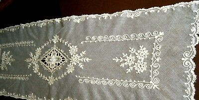 Victorian AntiqueTable Runner scarf tambour Net Lace cotton beige color France