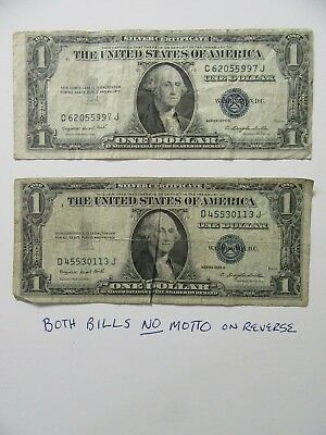 $1.00 Silver Certificates  2 Bills Series 1935 G
