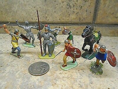 Elastolin German-hard plastic Medieval Warrior Figures -Highly Detailed
