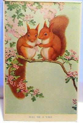 1960s ARTIST SIGNED NOEL HOPKING POSTCARD TELL ME A TALE, PAIR OF SQUIRRELS