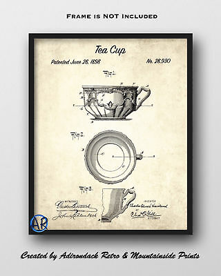 Tea Cup Patent Art Print  -  Vintage Patent Drawing